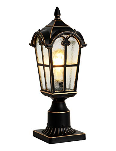 Outdoor Post Light Fixtures Black Pillar Light with 3-inch Pier Mount Adapter Post Lantern for Post/Pole Mount, Aluminum with Flower Glass Outdoor Post Lamps for House, Patio, Garden, and Backyard
