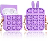 Pop It Case for Airpods 1&2 Case,Push Pop Bubble Fidget Sensory Toys Soft Silicone Cute Cartoon Kawaii Funny Fun Fashion Food Cool Protective Skin Cover,Headphone Accessories for Girls Kids Boys Women