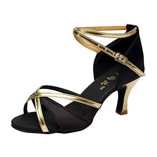 Yudesun Latinos Danza Zapatos Mujer - Damas Latinos Danza Zapatos Salón Calzado Sandalias Estándar Tango Baile Salsa Bailarina Performance Práctica Informal (Los Zapatos Son Muy pequeños)