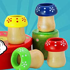 helegeSONG Wooden Mini Mushroom Toy Multi-Prisms Kaleidoscope for Toddlers and Kids Kaleidoscope Children Observation Early Educational Toy Random Color
