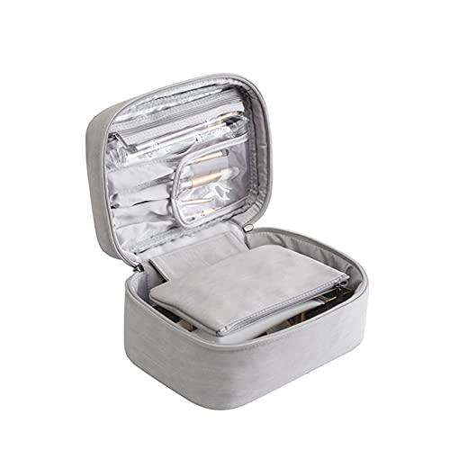 Bolsa de Maquillaje Bolsa de cosméticos Organizador de Viajes Mujeres multifunción Impermeable Artículos de tocador Paquete de Almacenamiento Equipo de Caja (Color : Grey)