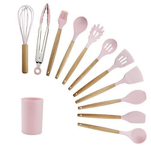 Silicone ustensiles de cuisine ustensiles de cuisine Set de cuisine antiadhésifs outil de cuisson cuisine de cuisine Spatula Spatule Spoon Soupe (Color : 12PCS Pink)