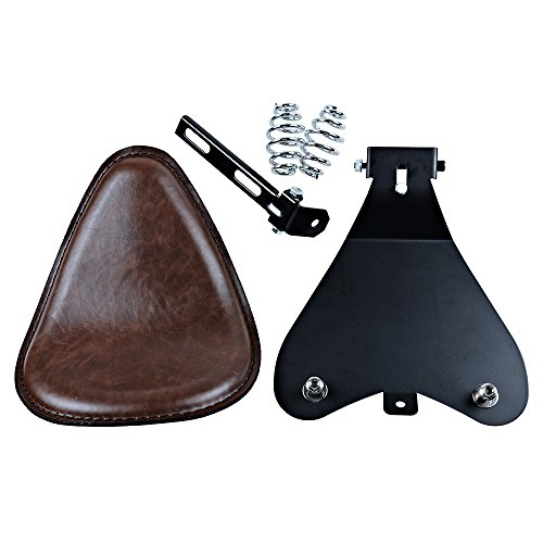 Motorcycle 12' Synthetic Leather Brown Solo Seat w/ 3' Springs + Sliding T-Bar + Swivel Bracket Mounting Kit