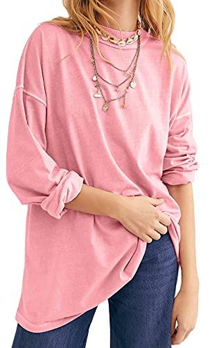 AIOPR WOMENS CREWNECK 긴 소매 튜닉 탑스 캐주얼 느슨한 맞는 대형 풀오버 스웨터