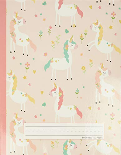 Unicorn Flowers - Primary Story Journal: Dotted Midline and Picture Space | Grades K-2 Composition School Exercise Book | 100 Story Pages (Cute Unicorn Notebooks For Girls)