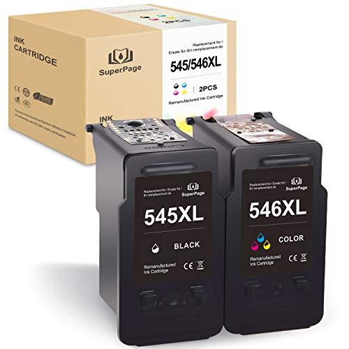 2 Superpage Kompatibel für Canon PG-545XL CL-546XL Wiederaufbereitet Druckerpatronen für Canon PIXMA MG2950 IP2850 MG2450 MG2550, Schwarz/Farbe