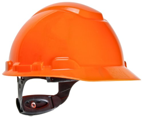 3M Hard Hat H-707R, Hi-Vis Orange, 4-Point Ratchet Suspension
