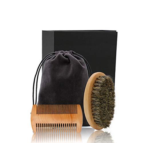Barbe toilettage Kit hommes, Barbe haut de gamme peigne et brosse Set, verrats Barbe Brosse à cheveux et 100% naturel fait à la main Peigne, Mens Gift Set,Comb+beardbrush+bag+box