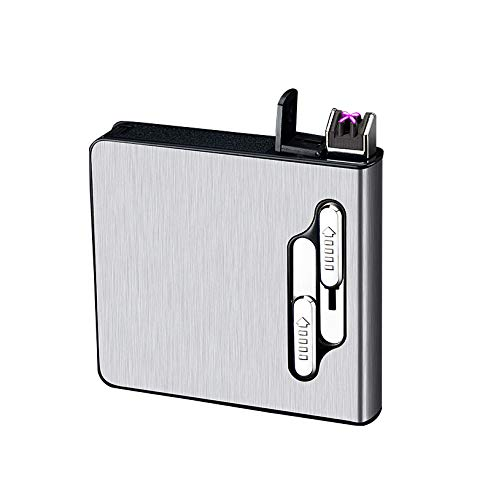 Full Pack 20 Regular Cigarettes Case Box Holder Automatic Ejection Case with Dual Arc Lighter USB Rechargeable, Flameless, Windproof,Moisture-Proof