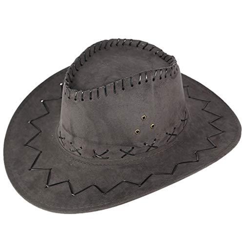ALINKCO - Sombrero para Mujer, Sombrero de praderas, Sombrero monótono, Sombrero de Vaquero Occidental, Unisex, Adulto, Sombrero Vaquero