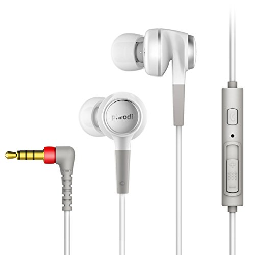 GranVela POD-500 High Resolution in-Ear Headphones with Mic, Noise Isolating Ergo Fit Earphone for iPhone, iPad, Samsung, Android etc (White)