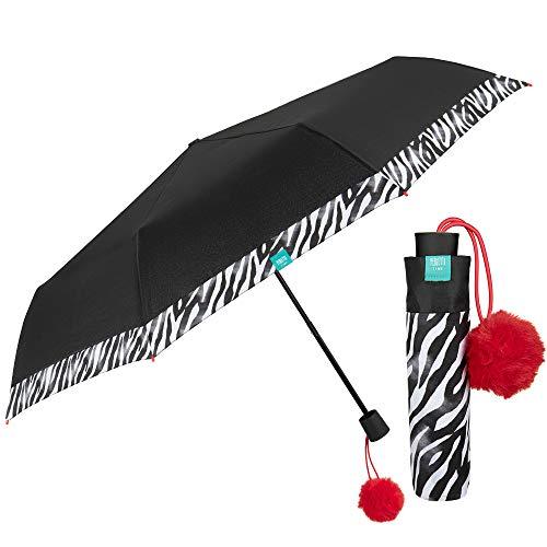 Parapluie Pliant Noir avec Bordure Zébrée pour Femme Fille Ultra Léger - Parapluie Pliable Résistant Coupe Vent Pompon Rouge - Parapluie Petit Manuel de Poche Voyage - Perletti Trend (Pompon Rouge)