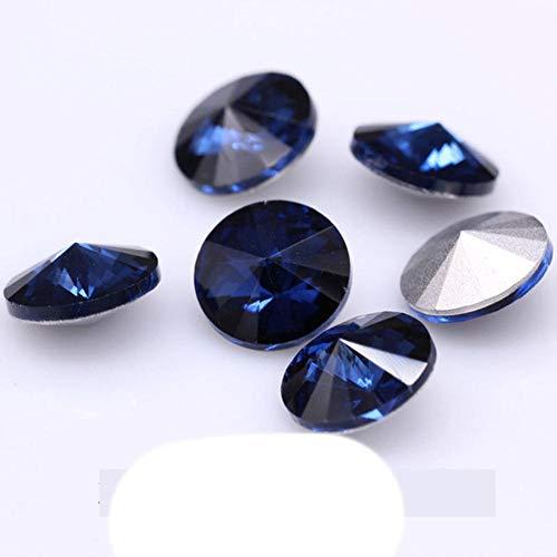 Toutes les tailles 24-couleurs Rivoli rond fantaisie pierre pointu dos verre cristal strass collier bricolage boucle d'oreille bijoux confection de vêtements, Montana, 14mm 12pcs
