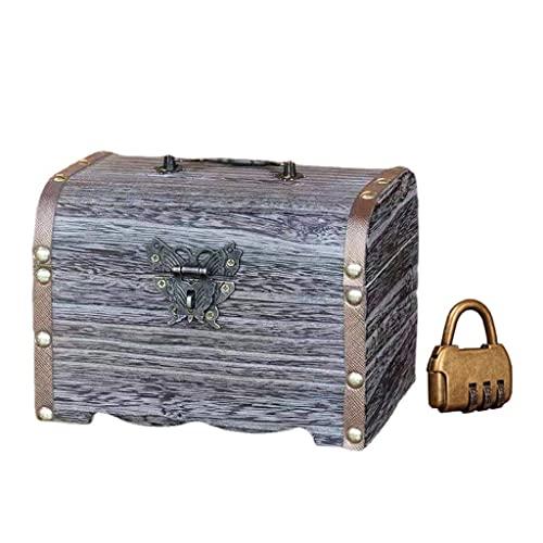 LIZHILIAN Caja de almacenamiento retro de madera para hucha vintage con cerradura Treasure Chest Box joyería pulsera perla anillo organizador caso -L/M/S