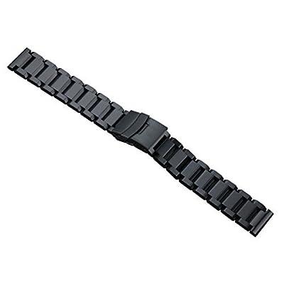sólidas negras correas de reloj de acero inoxidable de 22 mm de lujo de los hombres de tipo pesado pestillo de seguridad estilo oyster cepillado mate