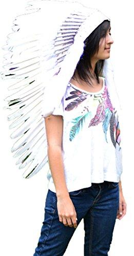 N81 - Sombrero Indio mediano de color Blanco/penacho/tocado de plumas