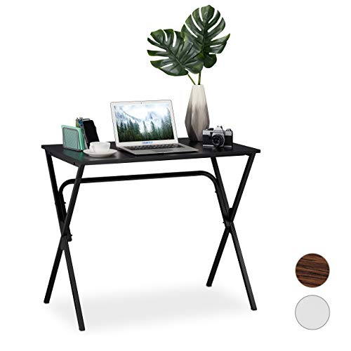 Relaxdays Schreibtisch, kompakt & platzsparend, Homeoffice, Jugendzimmer & Büro, HBT: 76 x 90 x 53 cm, schwarz, PB