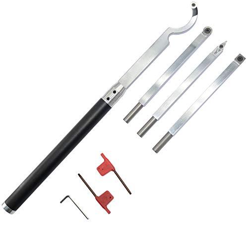 Set di utensili per tornitura legno con punta in carburo per tornio, rifinitore, cigno e manico intercambiabile in lega di allu