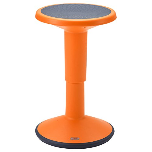 ECR4Kids ELR-15621-OR SitWell Height-Adjustable Wobble Stool - Active Flexible Seating Chair for Kids and Adults - School and Office, Orange