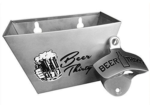2Abridores de Cervezas de pared con tapa de acero inoxidable