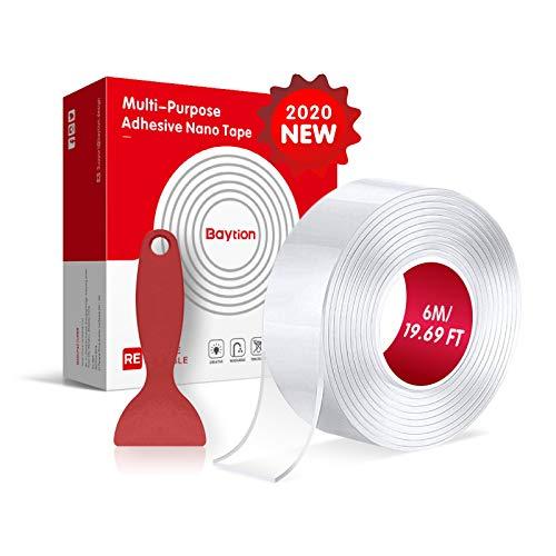 6M Biadesivo Extra Forte Nano Nastro, Baytion Nano Tape Adesivo Trasparente Riutilizzabile per Incollare Foto e Poster, Tappetini di Fissaggio, Articoli in Pasta (19,69FT)
