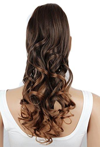PRETTYSHOP 50cm Haarteil Zopf Pferdeschwanz Haarverlängerung Gewellt Braun Mix HC19-1