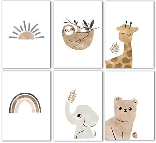 JAHEMU Laminas Decorativas Habitacion Niña 15 x 20cm Imágenes Aesthetic Poster Laminas Infantiles Animales para Habitaciones de Bebes, Dormitorio, Comedor (Sin Marco)