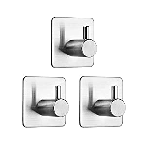 Auxmir 3 Piezas Ganchos Adhesivos de Pared para Toallas de Baño Cocina, Acero Inoxidable 304, Adhesivo 3M, Plata