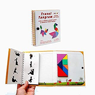 Travel Tangram Puzzle Toy, Kids Magnetic Pattern Block Book Road Trip Game Jigsaw Shapes Dissection STEM Games with Solution for Kid Adult Challenge,IQ Educational Toy Gift Brain Teasers 360 Patterns