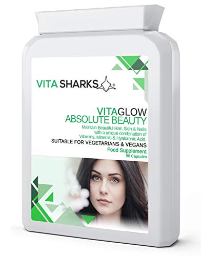 VitaGlow Absolute Beauty 90 Advanced Bespoke Vegan Formulation Capsules for Maintenance and Enhancement of Shiny Strong Hair, Skin & Nails