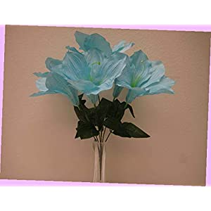 Artificial 2 Bushes Blue Amaryllis Artificial Silk Flowers 16″ Bouquet 6-647bl Bouquet Realistic Flower Arrangements Craft Art Decor Plant for Party Home Wedding Decoration