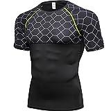 Shirt Compresión Hombre Básica Verano con Cuello Redondo Manga Corta Hombre Shirt Elástica Moda con Estampado Empalme Hombre Shirt Musculosa Gimnasio Hombre Shirt Deportiva E-Grey3 XL