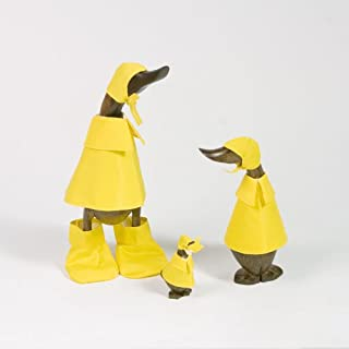 Bamboo Rain Duck Family Set of 3, Natural Hand Carved Bamboo Root Wood Raincoat Duck Figure Statue, Indoor/Outdoor Garden Decor Ornament, Unique Gift Idea