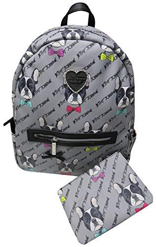 Betsey Johnson Women's Backpack, Grey Pug Dogs,
