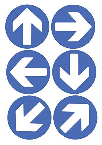 6x Dirección flechas (azul) vinilo autoadhesivo pegatinas de seguridad