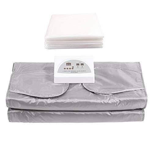 ETE ETMATE Upgraded 2 Zone Digital Far-Infrared Sauna Blanket(Silver)(Free 50pcs Bath Bag Included