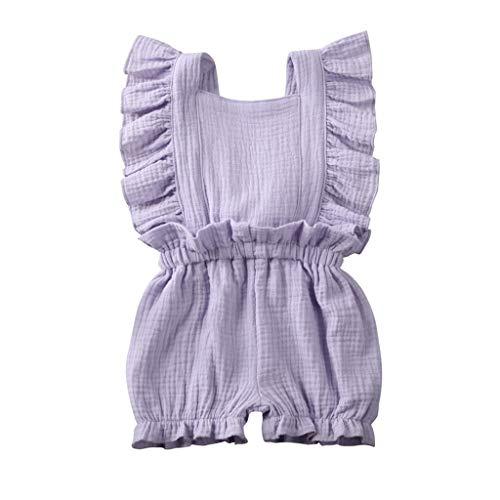 HWTOP Baby Mädchen Strampler Outfits Kleinkind Overalls Falten Ärmellos Rüschenärmel Romper Jumpsuit Shorts Kleidung, Violett, 18-24 Monate