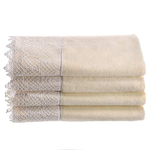 Creative Scents Fingertip Towels for Bathroom (11x18 inches) Towel Set of 4, Soft Velour Finish, Gorgeous Lace Trim, 100% Cotton, Machine Washable, Perfect for Guest Bathroom! (Cream,Ivory)