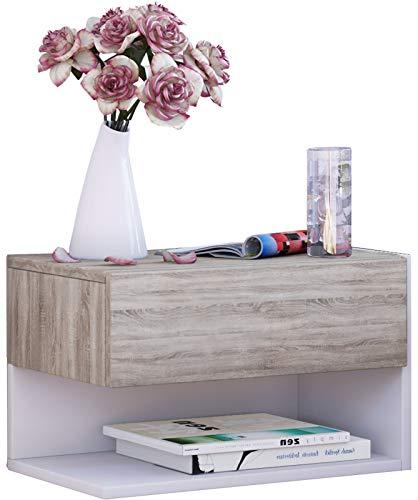 VCM 912344Dormal Mensola da parete/tavolo comodino legno quercia Sonoma/bianco 29,5x 46,3x 30cm