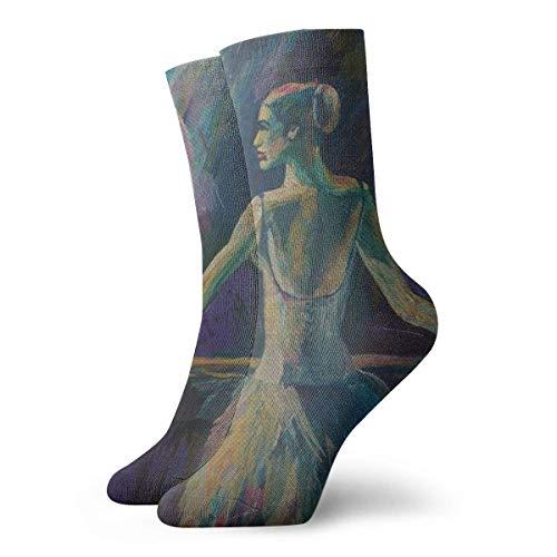 Calcetines deportivos unisex clásicos, 30 cm, regalo de bailarina de pintura acrílica, espectro completo, obras de arte creativas y bailarinas