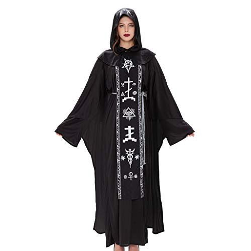 N/A. Conjunto de disfraz de Halloween para hombre y mujer, disfraz de brujo mstico con capucha y cinturn medieval vintage, vestido de vampiro