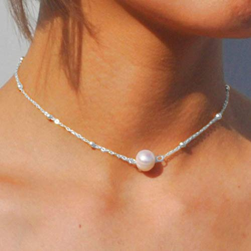Jovono Dainty Perle Pendentif Colliers Perles De Mode Collier Ras Du Cou Collier Chaîne Bijoux Pour Femmes Et Filles (Argent)