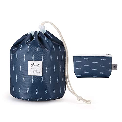 Enterlife Cosmetic bag Drawstring Makeup Bag Toiletry Cosmetic Travel Organizer Bag Barrel Shaped Storage Bag Quick Drawstring Hanging Bag for Women