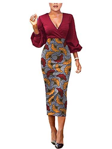 Women Long Bodycon Party Dress V Neck Elegant Sexy Midi 3/4 Sleeves Party Pencil Dress