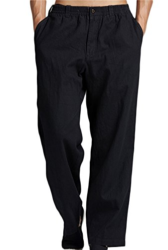 Insun Hommes Pantalon de Loisir en Lin Pantalons légers aérés d'été Noir 46