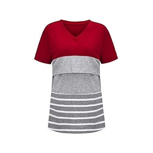 WJSU Dames voedingsshirt Lange mouw zwangerschapsjurk Voedingstop Strepen Katoen Comfortabel zwangerschapsshirt Casual Elegant