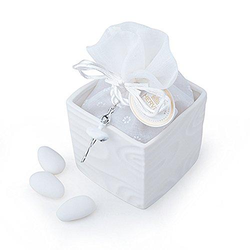 hervit Art. 26966 Boîte Cube bisquit porcelaine blanc 7 x 7 x 6,5 cm