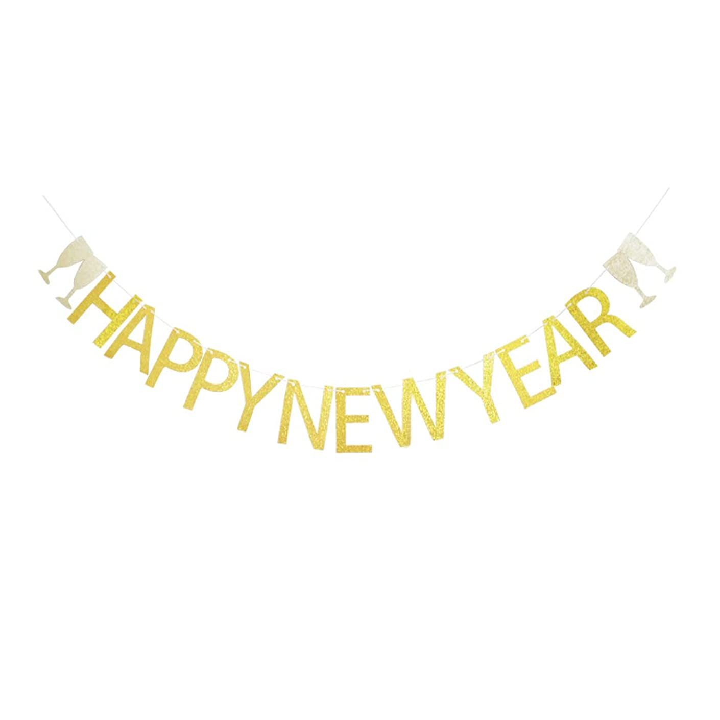 Happy New Year Banner, Gold Glitter Decorations for New Year/New Year Eve Party