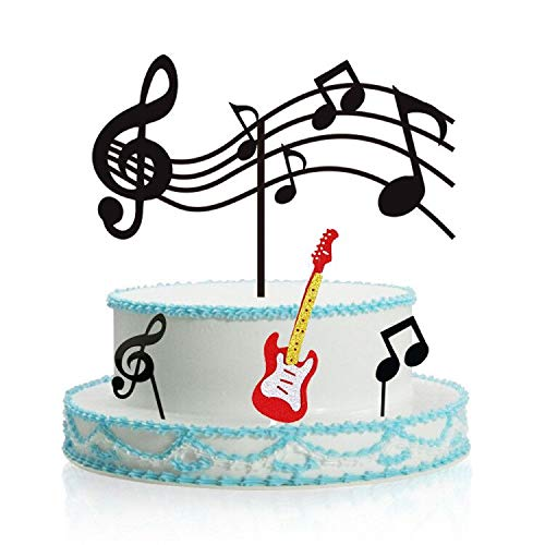Music Notes Cupcake Toppers Acrylic, Guitar Cake Toppers ,Musical Theme Birthday Party Supplies Rock Cupcake Topper (Black)for Kids Birthday Musician Party
