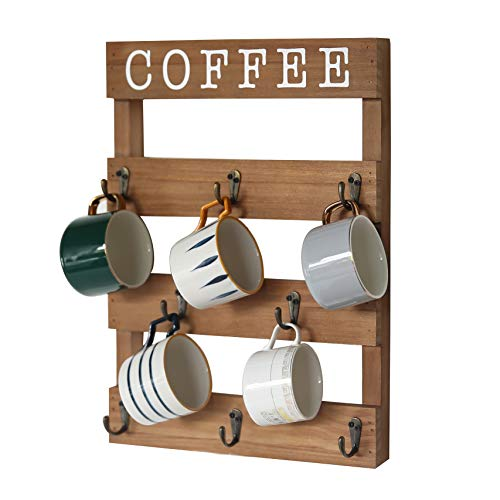 """EMAISON Coffee Mug Holder, Wall Mounted Rustic Wood Cup Organizer with 8 Hooks for Home, Kitchen Display Storage and Collection (Brown, 13"""" x 17"""")"""